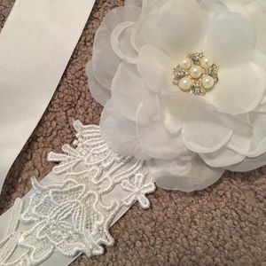White bridal belt